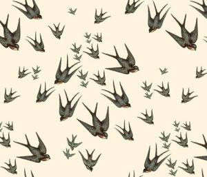Descending Swallows fabric design by blue hours atelier. Click through for more examples of custom fabric design, lingerie work, and where to shop designs.