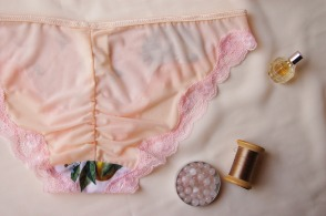 Going to California ruched back bikini brief by blue hours atelier. Click through for more examples of lingerie designs, pattern making, and where to shop designs.
