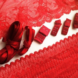 Hand dyed lingerie supplies in oxblood and crimson by blue hours atelier. Click through for more examples of custom fabric design, lingerie work, and where to shop designs.