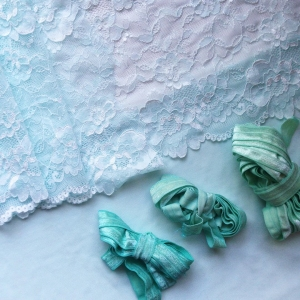 Hand dyed seafoam lingerie supplies by blue hours atelier. Click through for more examples of custom fabric design, lingerie work, and where to shop designs.