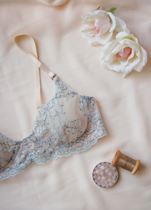Tangled Up In Blue demi bra by blue hours atelier. Click through for more examples of lingerie designs, pattern making, and where to shop designs.